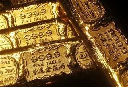 Gold bars are seen at a jewellery store in Hong Kong